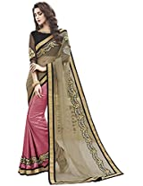 MAHOTSAV Women's Cotton Silk Saree (8709, Brown)