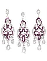 Shining Gemstone Silver Pendant Earring Set-16104