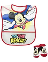 Baby-Boys Infant Mickey Mouse Crumb Catcher Bib and Bootie Set