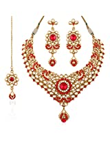 I Jewels Traditional Gold Plated Kundan Necklace Set with Maang Tikka for Women K7023R (Red)