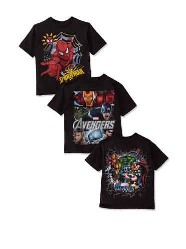 Freeze Boy's Avengers/Marvel/Spider-Man T-Shirt Bundle (Black)