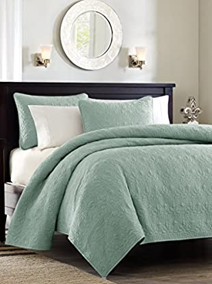 Luxury Home Quebec 3-Piece Full/Queen Coverlet Set, Green