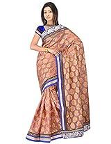 Sehgall Saree Indian Ethnic Professional Material Faux Silk Banarasi Weave Pinkish Beige