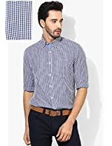 Blue Checked Slim Fit Casual Shirt Peter England