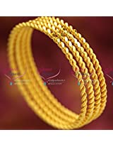 Gold Plated Delicate Intricate Twisted 4 Line Bangles Daily Casual Wear