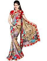 Shree Bahuchar Creation Women's Chiffon Saree(Skb26, Orange and Red)