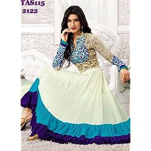 Thankar Kriti Senon Designer White Anarkali Suit