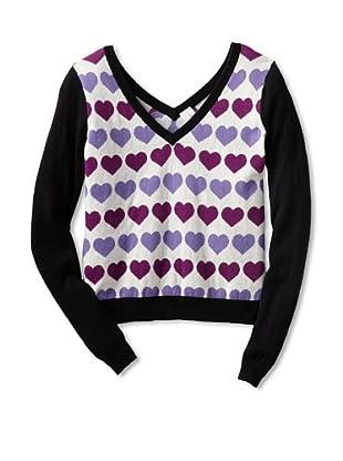Shae Women's V-Neck Heart Sweater (Off-White/Multi)