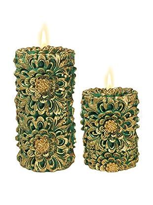 Volcanica Set of 2 Green & Gold Dendritic Pillar Candles