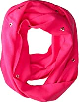 Betsey Johnson Women's Heart Grommet Infinity Pink Scarf One Size