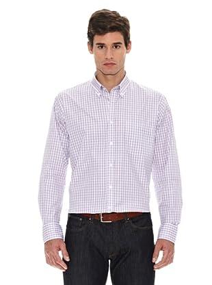 Turrau Camisa Cuadro Pequeño Doble Ventana Bicolor (Azul / Rosa)