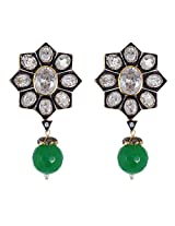 Be You Stylish White Colour Antique Diamond Look Rhodium Plated Brass Drop Earring for Women