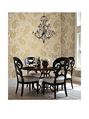 Brewster Darro Global Paisley Strippable Wallpaper, Gold