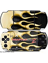 Sony PSP 3000 Decal Style Skin - Metal Flames Yellow