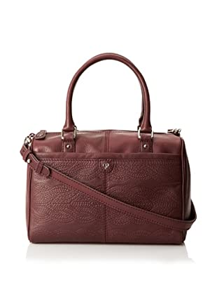 Charlotte Ronson Women's Cable Embossed Satchel (Wine)