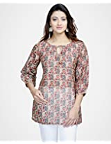 Chanderi Printed Tie Up Short Kurta-