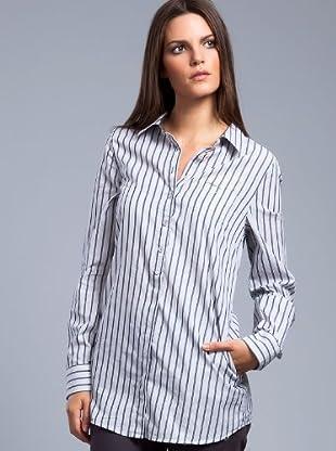 Cortefiel Camisa Rayas Bolsillo (Gris / Azul)