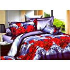 Tima Leafy N Multi Floral 3D Double Bedsheet With 2 Pillow Covers (Folder Pack)