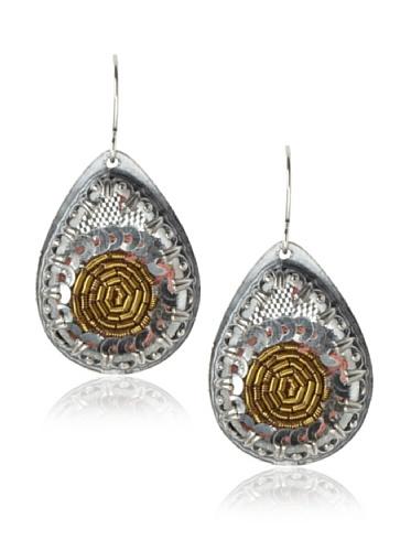 Presh Silver & Heron Teardrop Earrings