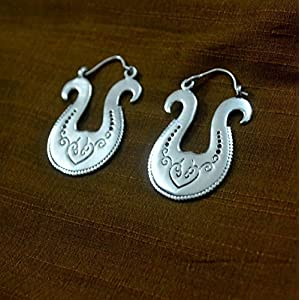 The Desi Soul Silver Tribal Earrings