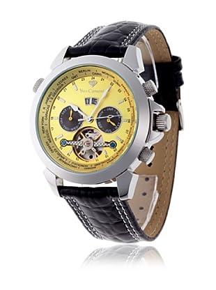 Yves Camani Reloj Worldtimer Automático Negro / Amarillo Claro