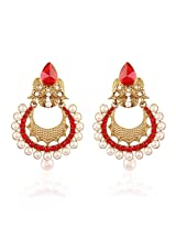 I Jewels Traditional Gold Plated Chand Shaped Pearl Earrings for Women EM2250R (Red)