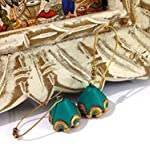 Turquoise green and gold conical jhumkas with long hooks
