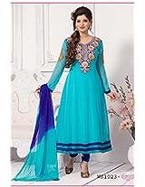 Whatshop Sky Blue Georgette With Emroidered Long Anarkali suit