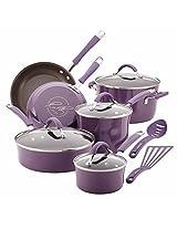 Rachael Ray 12-Piece Cucina Hard Enamel Nonstick Cookware Set, Lavender/Purple