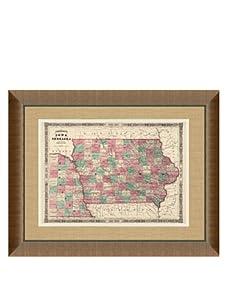 "Johnson and Ward Antique Map of Iowa & Nebraska, 1860's, 24"" x 26"""