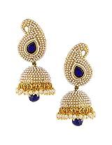 Ethnic pearl colourful paisley jhumka handmade India bollywood earringSAEA0951BL