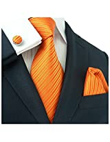"""Landisun Solids Mens Silk Tie Set: Necktie+Hanky+Cufflinks 26C Bright Orange, 3.75""""Wx66""""L"""