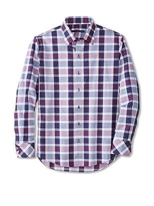 Zachary Prell Men's Calvin Checked Long Sleeve Shirt (Pink/Navy)