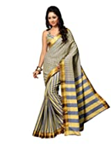 Paaneri Grey Colour with Yellow Strips Blended Cotton Saree_15111109202