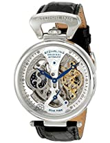 Stuhrling Original Men's 127A2.33152 Emperor's Grand DT Automatic Skeleton AM/PM Indicator Dual Time Silvertone Watch