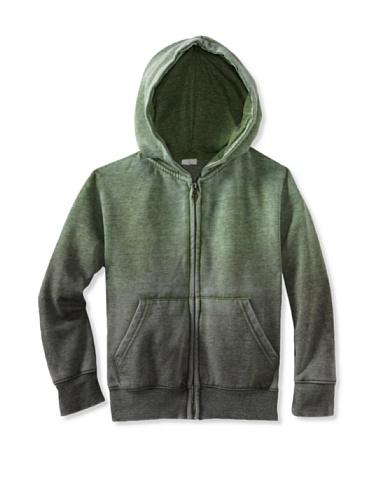 Colorfast Apparel Boy's Burnout/Dip Dye Zip Hoodie (Green/Dark Green)