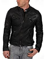 Iftekhar Men's Pure leather Jacket - Black - (Iftekhar01 - S)