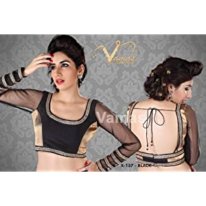 Full Sleeves Net Saree Blouse. X137 black . Muhenera presents vama designer collection