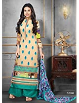 Rozdeal Women Georgette Embroidered Unstitched Long Sleeve Cream and Green Anarkali Suit