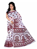 e-VASTRAM WOMENS SUPERNET ALL OVER VELVET WHITE SAREE