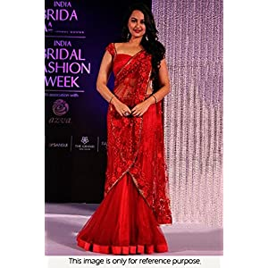Bollywood Replica Sonakshi Sinha Designer Silk Material Net Lehenga Saree - Red Colour - Model Number NC663 by Ninecolours