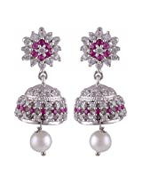 Silver Prince 8.8 Grm Pearl, White Cubic Zirconia, Pink Cubic Zirconia Bestseller 925 Silver Earrings