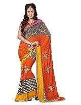 Dlines Orange and Brown Printed saree
