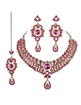 I Jewels Traditional Gold Plated Bridal Jewellery Set with Maang Tikka For Women (Rani/Light Pink)(M4023Q)