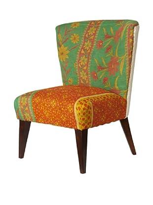Kantha Arm Chair, Green/Orange Multi