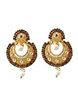 Surat Diamonds Traditional Round Shaped Red, Green & White Stones & Gold Plated Dangling Fashion Earrings for Women (PSE1)