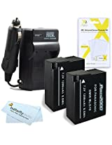 2 Pack Battery And Charger Kit For Panasonic LUMIX DMC-GX7 DMC-GX7KS DMC-GX7S DMC-GX7SBODY DSLM DMC-GF6 DMC-GF6KK Digital Camera Includes 2 Extended Replacement (1200Mah) DMW-BLG10 Batteries + Ac/Dc Rapid Travel Charger + LCD Screen Protectors + More