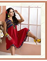 Cotton Embroidered Red Frock Dress - 2003-B
