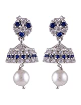 Silver Prince 6.5 Grm Pearl, White Cubic Zirconia, Blue Cubic Zirconia Bestseller 925 Silver Earrings