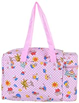 Mahaveer Printed Warmer Bag with Two Flasks (40 cms x 16 cms x 25 cms, Pink)